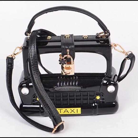 Handbags - Taxi Cab Boxy Faux Leather Mirror Hard Case Bag